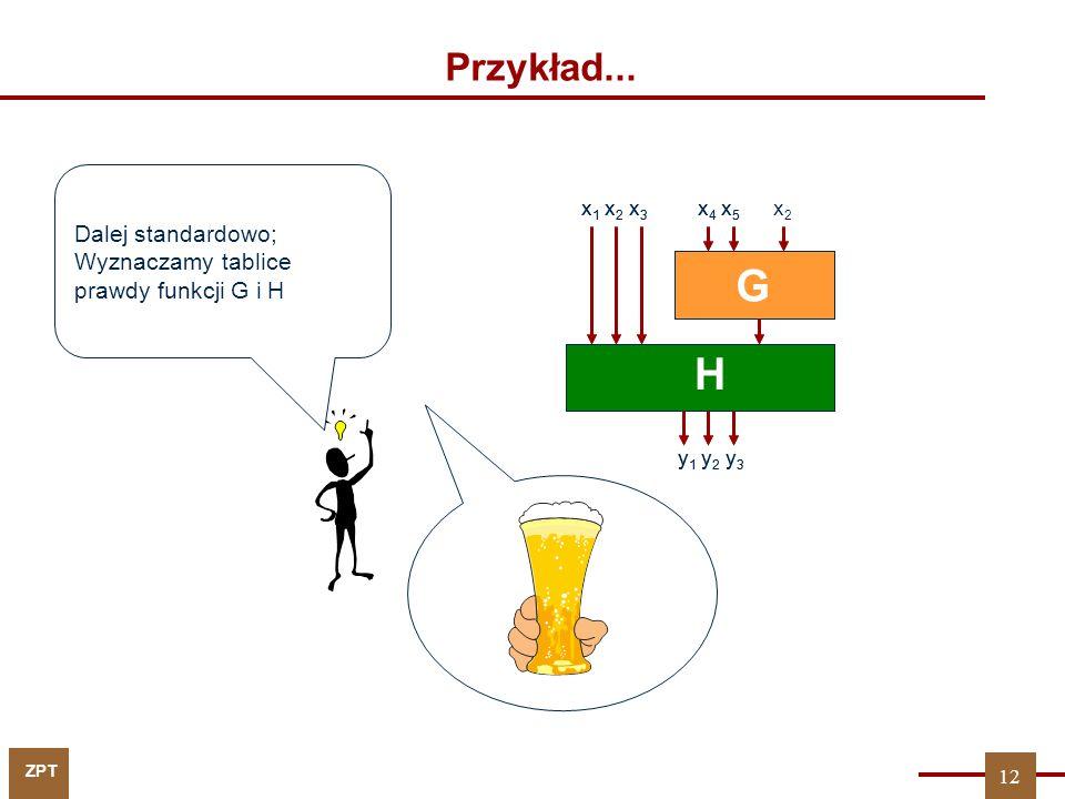 ZPT Przykład... G H x 1 x 2 x 3 x 4 x 5 y 1 y 2 y 3 Dalej standardowo; Wyznaczamy tablice prawdy funkcji G i H G H x 1 x 2 x 3 x 4 x 5 y 1 y 2 y 3 x2x