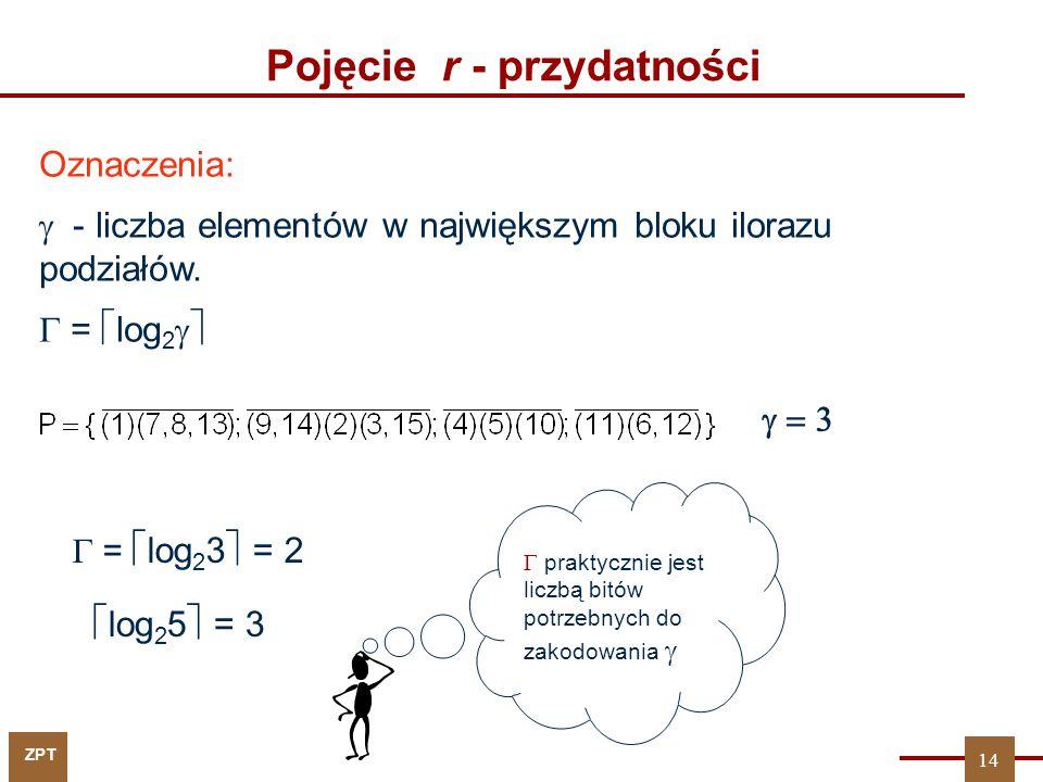 ZPT Oznaczenia:  - liczba elementów w największym bloku ilorazu podziałów.  =  log 2   praktycznie jest liczbą bitów potrzebnych do zakodowania