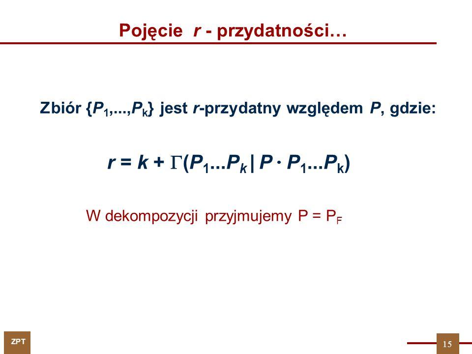 ZPT Pojęcie r - przydatności… Zbiór {P 1,...,P k } jest r-przydatny względem P, gdzie: r = k +  (P 1...P k | P  P 1...P k ) 15 W dekompozycji przyjm