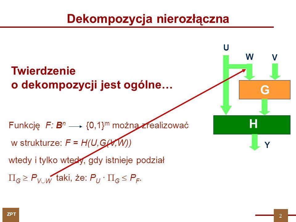 ZPT V U G H Y W Funkcję F: B n {0,1} m można zrealizować w strukturze: F = H(U,G(V,W)) wtedy i tylko wtedy, gdy istnieje podział  G  P V  W taki, ż