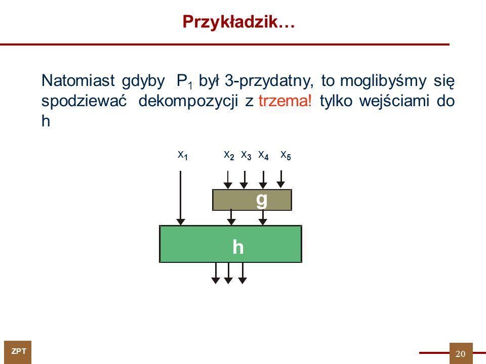ZPT Przykładzik… Natomiast gdyby P 1 był 3-przydatny, to moglibyśmy się spodziewać dekompozycji z trzema! tylko wejściami do h x1x1 x 2 x 3 x 4 x 5 g