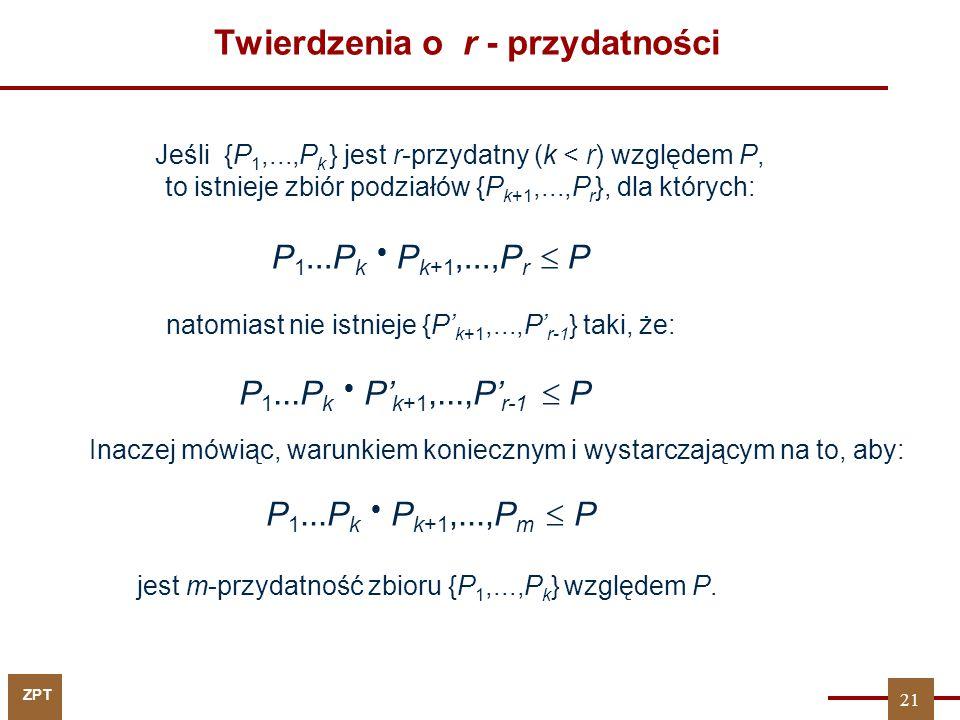 ZPT Twierdzenia o r - przydatności Jeśli {P 1,...,P k } jest r-przydatny (k < r) względem P, to istnieje zbiór podziałów {P k+1,...,P r }, dla których