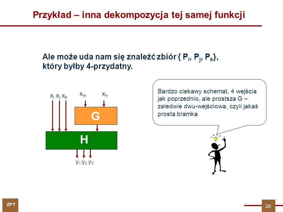ZPT Przykład – inna dekompozycja tej samej funkcji Ale może uda nam się znaleźć zbiór { P i, P j, P k }, który byłby 4-przydatny. G H x i x j x k x m