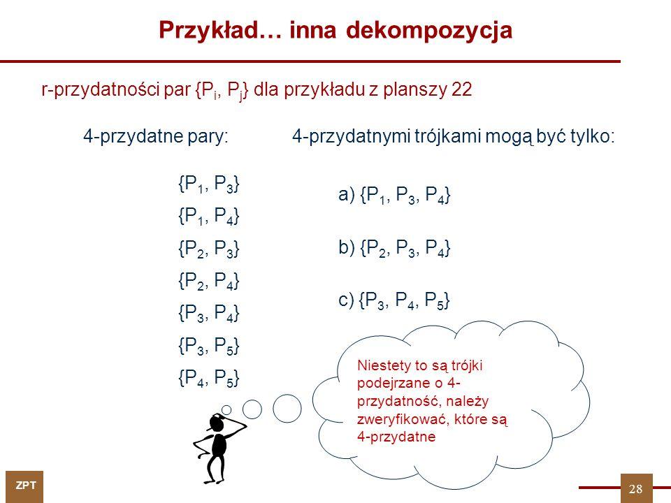 ZPT Przykład… inna dekompozycja r-przydatności par {P i, P j } dla przykładu z planszy 22 a) {P 1, P 3, P 4 } 4-przydatnymi trójkami mogą być tylko: b