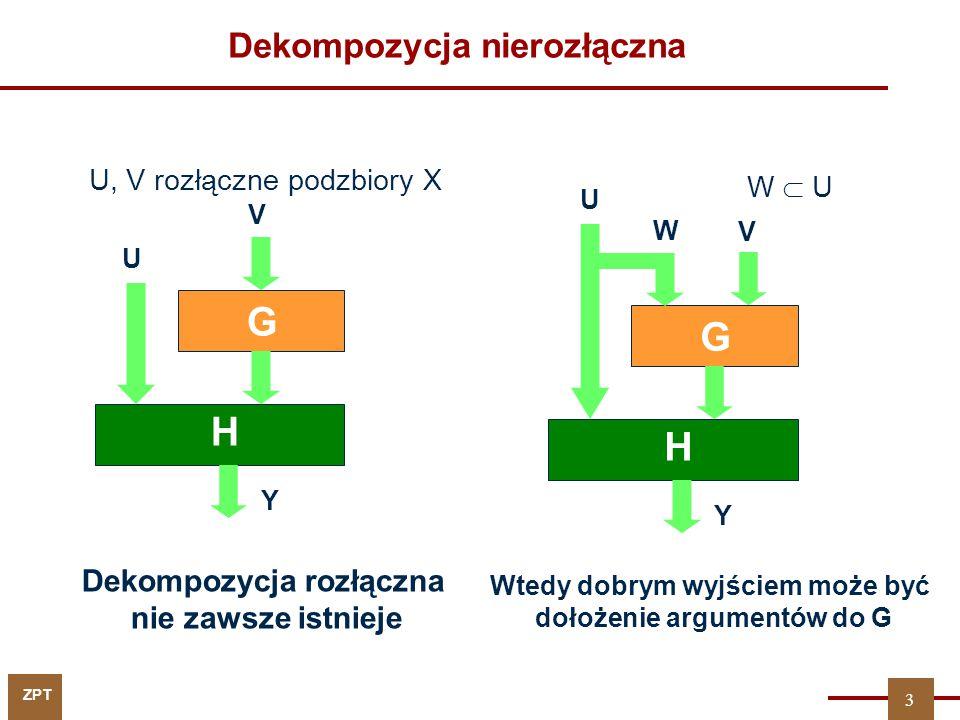 ZPT U, V rozłączne podzbiory X Dekompozycja rozłączna nie zawsze istnieje V U G H Y Wtedy dobrym wyjściem może być dołożenie argumentów do G W  U V U