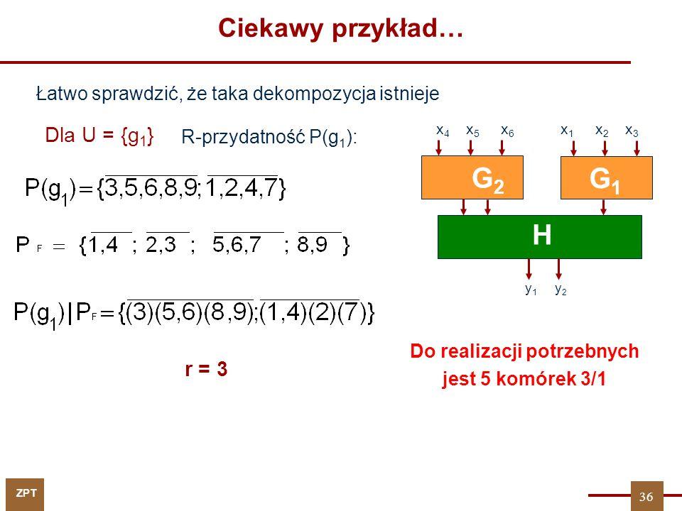 ZPT Dla U = {g 1 } r = 3 G1G1 H y 1 y 2 G2G2 x 4 x 5 x 6 x 1 x 2 x 3 Łatwo sprawdzić, że taka dekompozycja istnieje R-przydatność P(g 1 ): Do realizac