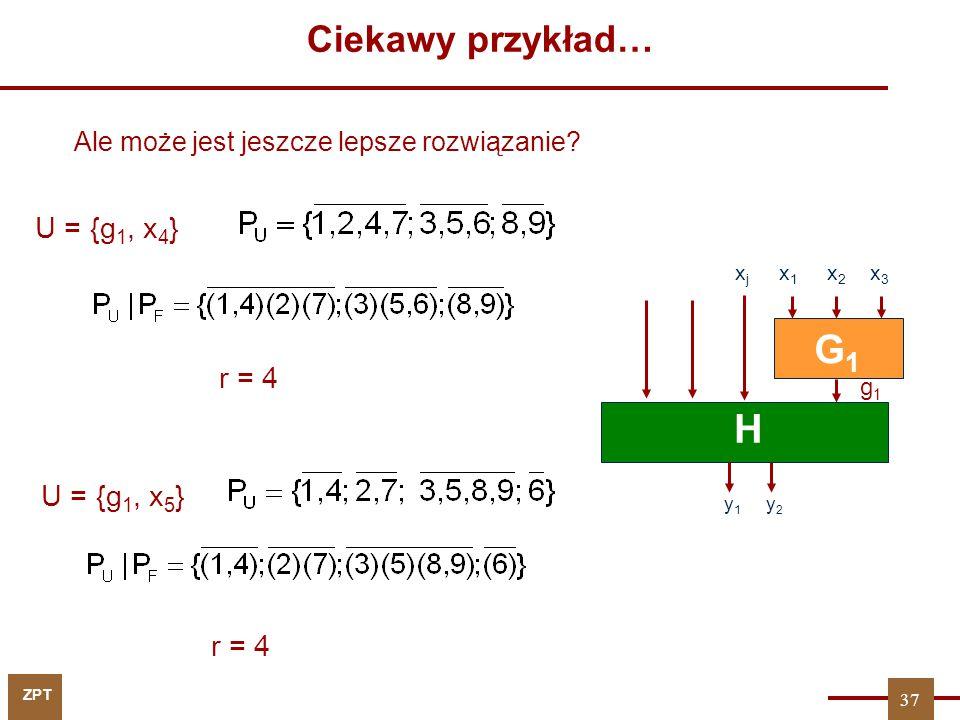 ZPT U = {g 1, x 4 } r = 4 U = {g 1, x 5 } r = 4 Ale może jest jeszcze lepsze rozwiązanie? 37 x j x 1 x 2 x 3 G1G1 H y 1 y 2 g1g1 Ciekawy przykład…