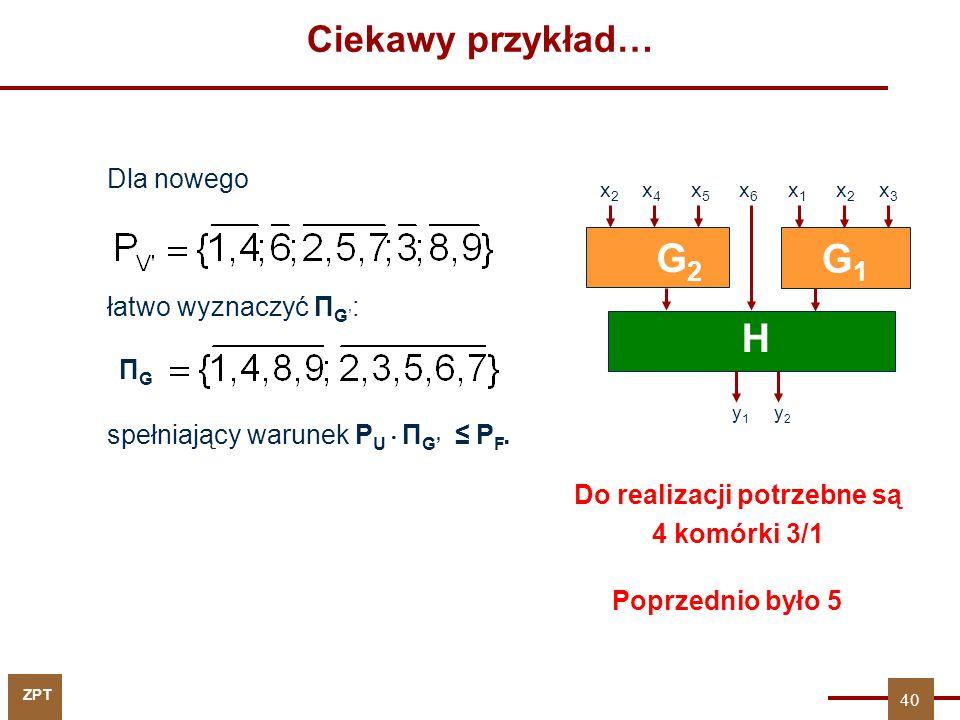 ZPT Dla nowego łatwo wyznaczyć Π G' : spełniający warunek P U  Π G' ≤ P F. G1G1 H y 1 y 2 G2G2 x 2 x 4 x 5 x 6 x 1 x 2 x 3 ΠGΠG Do realizacji potrzeb