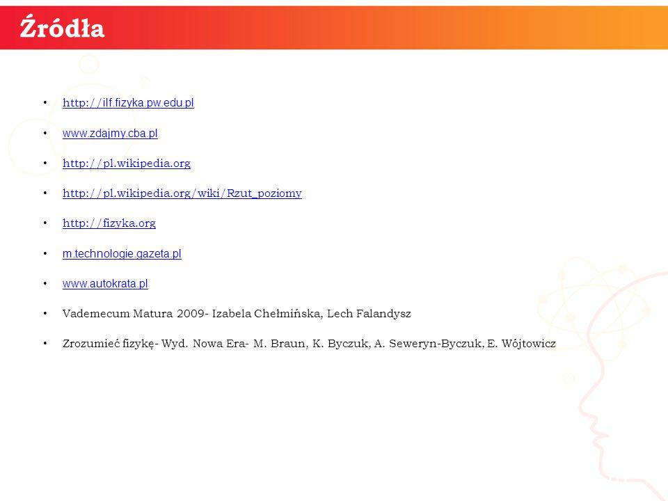 http:// ilf.fizyka.pw.edu.pl http:// ilf.fizyka.pw.edu.pl www.zdajmy.cba.pl http://pl.wikipedia.org http://pl.wikipedia.org/wiki/Rzut_poziomy http://fizyka.org m.technologie.gazeta.pl www.autokrata.pl Vademecum Matura 2009- Izabela Chełmińska, Lech Falandysz Zrozumieć fizykę- Wyd.