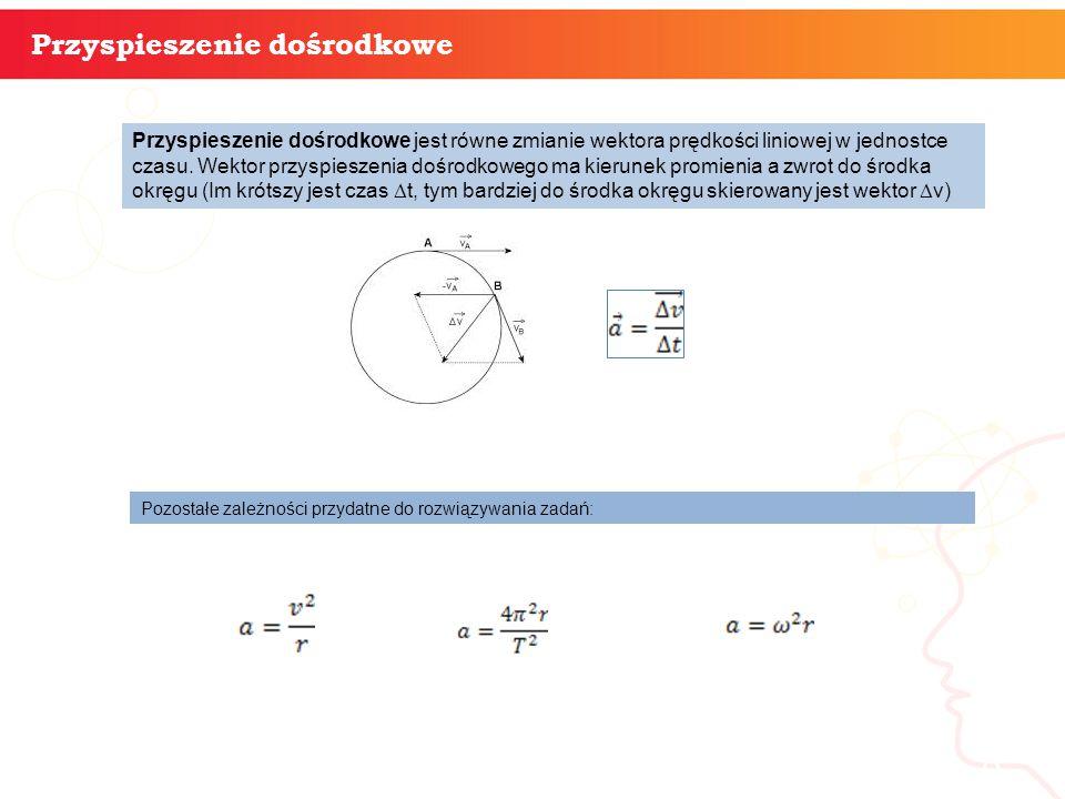 informatyka + 8 Przyspieszenie dośrodkowe Przyspieszenie dośrodkowe jest równe zmianie wektora prędkości liniowej w jednostce czasu.