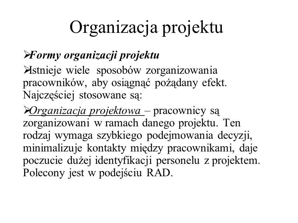 Organizacja projektu  Formy organizacji projektu  Istnieje wiele sposobów zorganizowania pracowników, aby osiągnąć pożądany efekt. Najczęściej stoso