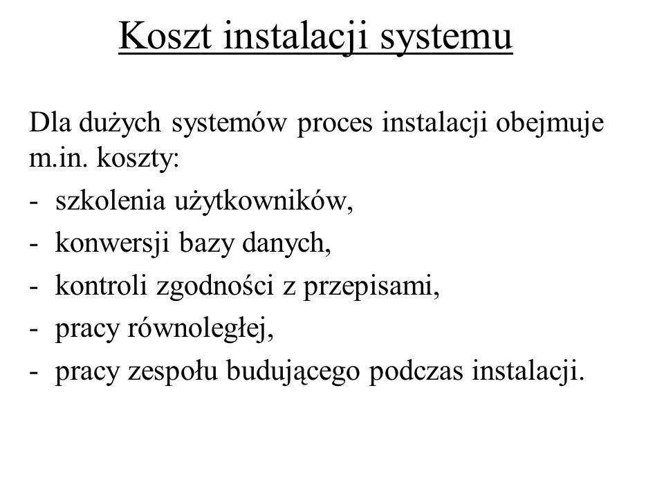 Koszt instalacji systemu Dla dużych systemów proces instalacji obejmuje m.in. koszty: -szkolenia użytkowników, -konwersji bazy danych, -kontroli zgodn