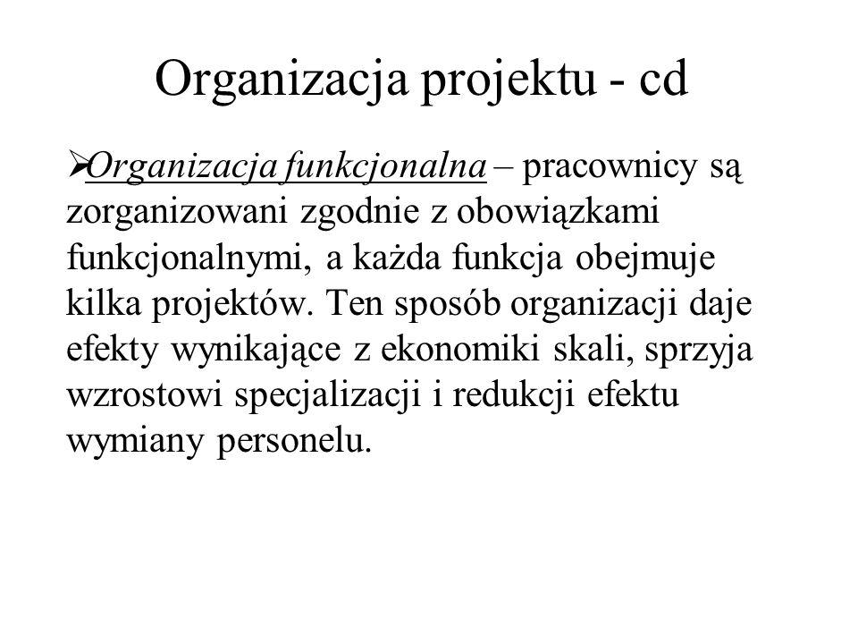 Organizacja projektu - cd  Organizacja funkcjonalna – pracownicy są zorganizowani zgodnie z obowiązkami funkcjonalnymi, a każda funkcja obejmuje kilk