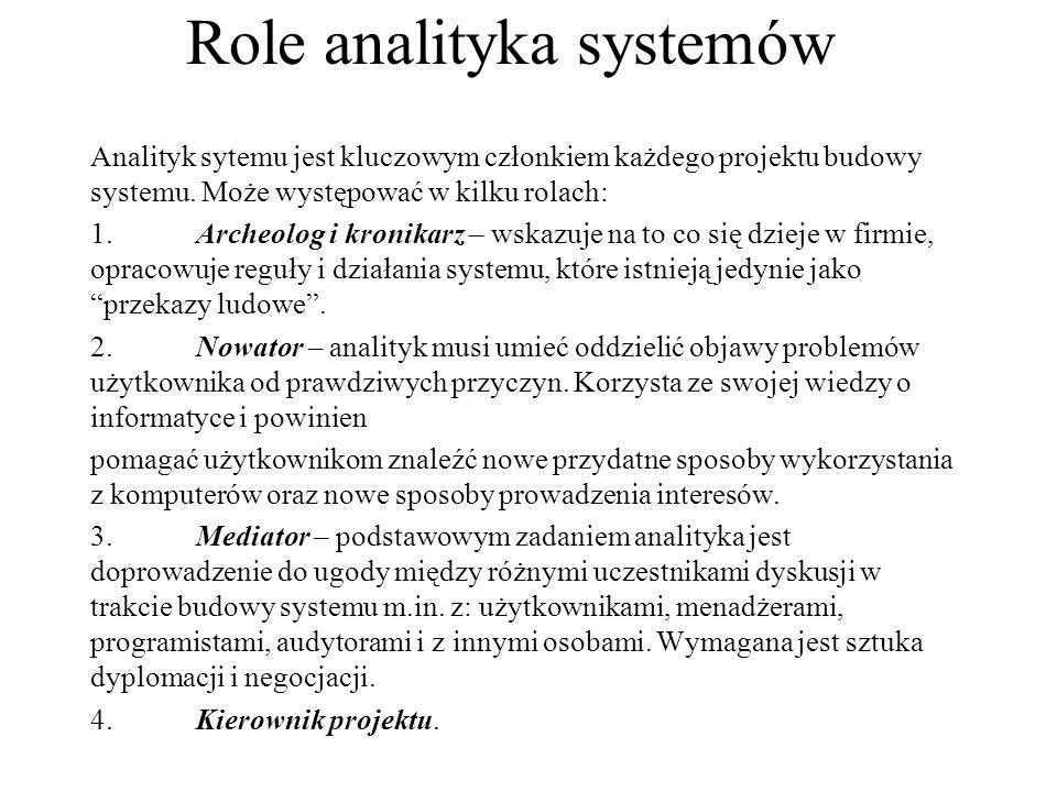 Role analityka systemów Analityk sytemu jest kluczowym członkiem każdego projektu budowy systemu. Może występować w kilku rolach: 1.Archeolog i kronik