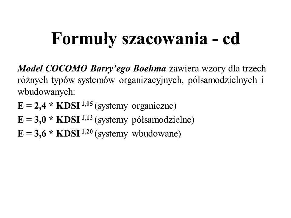 Formuły szacowania - cd Model COCOMO Barry'ego Boehma zawiera wzory dla trzech różnych typów systemów organizacyjnych, półsamodzielnych i wbudowanych: