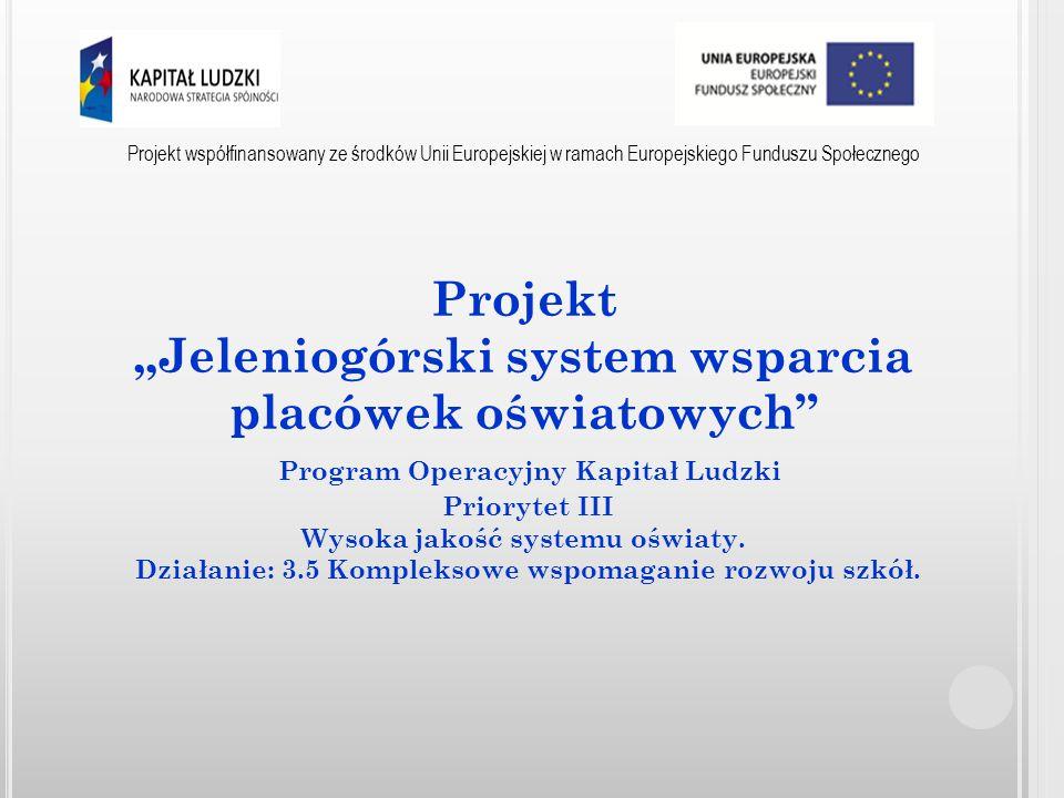 Projekt współfinansowany ze środków Unii Europejskiej w ramach Europejskiego Funduszu Społecznego - Podniesienie kompetencji i umiejętności nauczycieli, kadry kierowniczej poprzez udział w bezpłatnych szkoleniach i konsultacjach dedykowanych konkretnym potrzebom występującym w placówce.