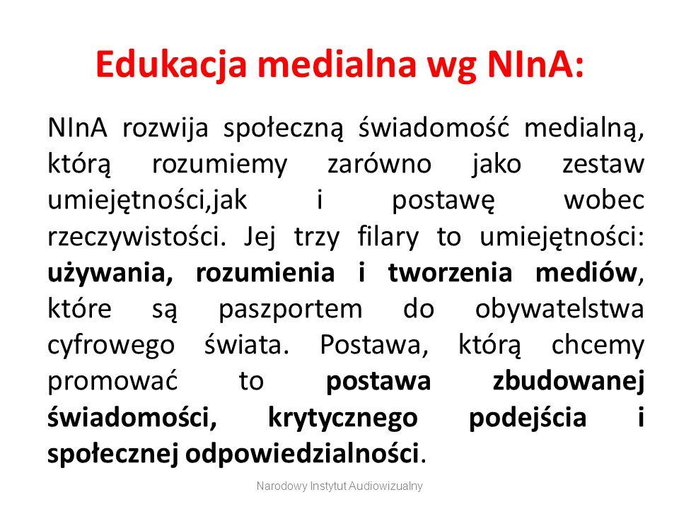 Edukacja medialna wg NInA: NInA rozwija społeczną świadomość medialną, którą rozumiemy zarówno jako zestaw umiejętności,jak i postawę wobec rzeczywist