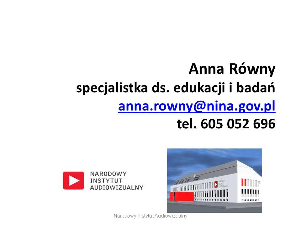 Anna Równy specjalistka ds. edukacji i badań anna.rowny@nina.gov.pl tel. 605 052 696 anna.rowny@nina.gov.pl Narodowy Instytut Audiowizualny