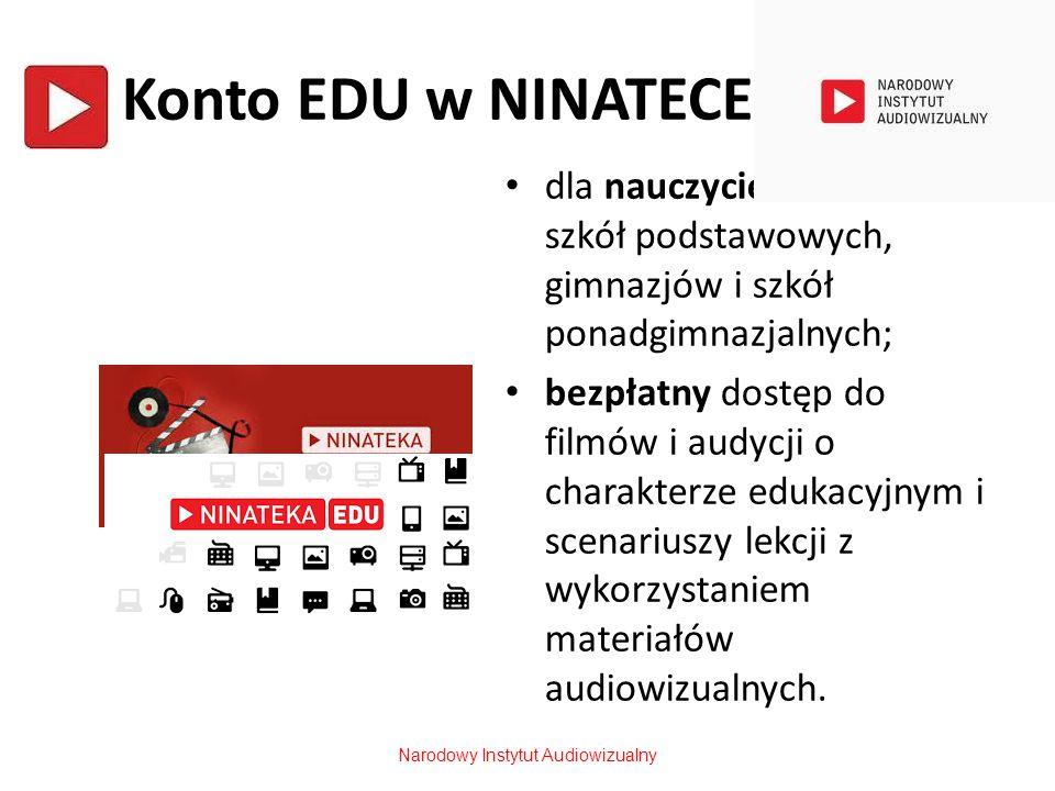 Konto EDU w NINATECE dla nauczycieli i uczniów szkół podstawowych, gimnazjów i szkół ponadgimnazjalnych; bezpłatny dostęp do filmów i audycji o charak