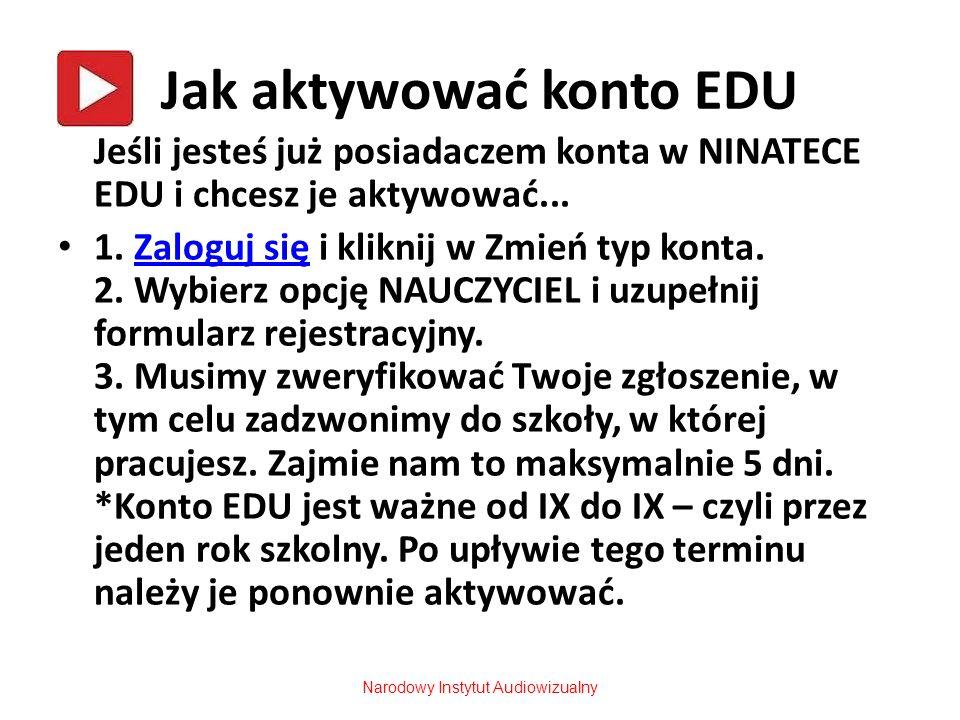 Jak aktywować konto EDU Jeśli jesteś już posiadaczem konta w NINATECE EDU i chcesz je aktywować... 1. Zaloguj się i kliknij w Zmień typ konta. 2. Wybi