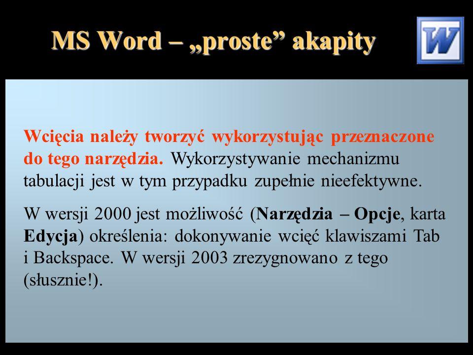 """MS Word – """"proste"""" akapity Wcięcia należy tworzyć wykorzystując przeznaczone do tego narzędzia. Wykorzystywanie mechanizmu tabulacji jest w tym przypa"""