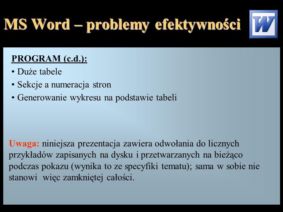 MS Word – problemy efektywności PROGRAM (c.d.): Duże tabele Sekcje a numeracja stron Generowanie wykresu na podstawie tabeli Uwaga: niniejsza prezenta