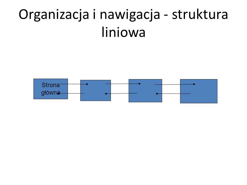 Organizacja i nawigacja - struktura liniowa Strona główna