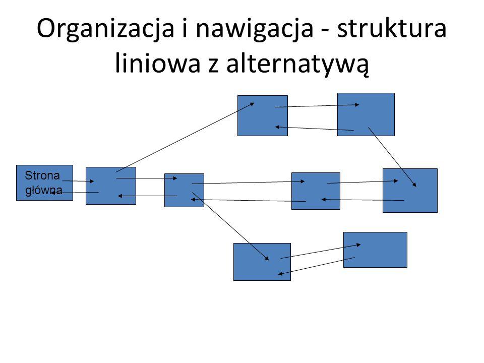 Organizacja i nawigacja - struktura liniowa z alternatywą Strona główna