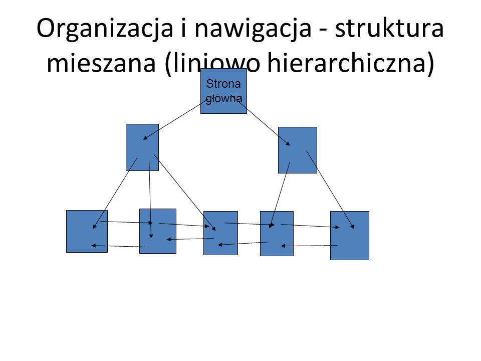 Organizacja i nawigacja - struktura mieszana (liniowo hierarchiczna) Strona główna