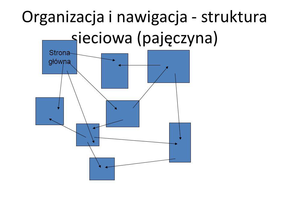 Organizacja i nawigacja - struktura sieciowa (pajęczyna) Strona główna