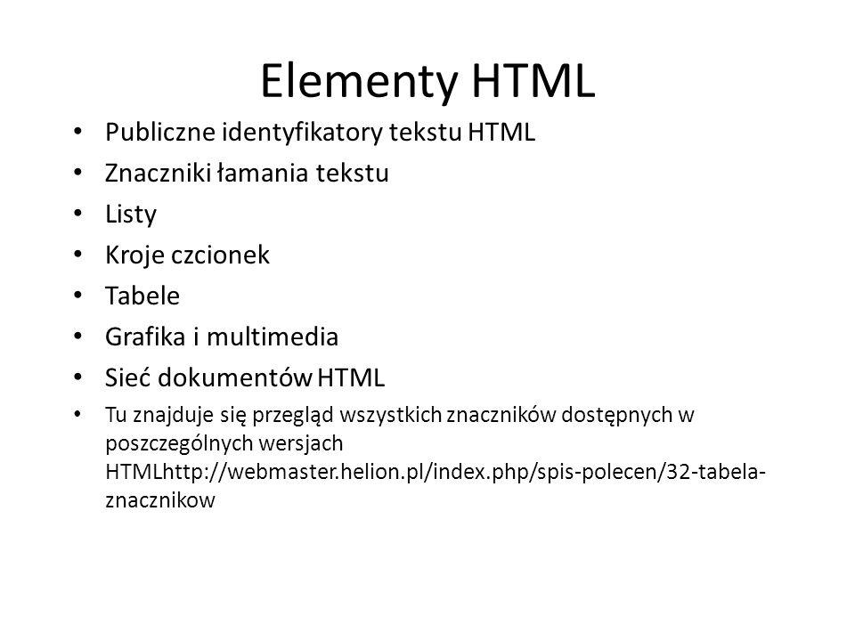 Elementy HTML Publiczne identyfikatory tekstu HTML Znaczniki łamania tekstu Listy Kroje czcionek Tabele Grafika i multimedia Sieć dokumentów HTML Tu z