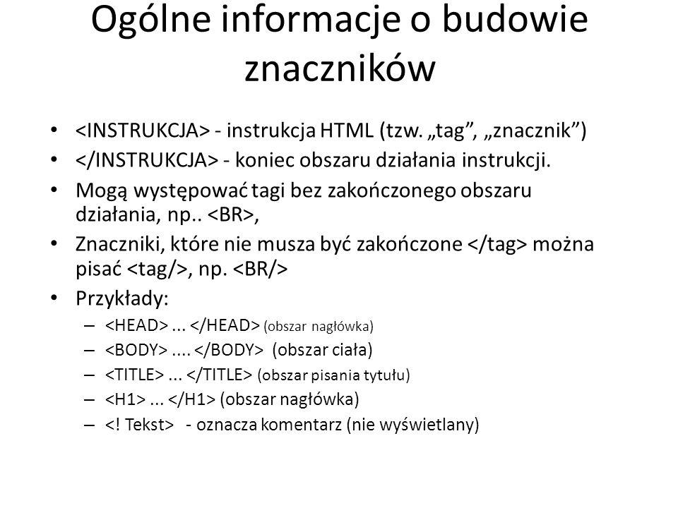 """Ogólne informacje o budowie znaczników - instrukcja HTML (tzw. """"tag"""", """"znacznik"""") - koniec obszaru działania instrukcji. Mogą występować tagi bez zako"""