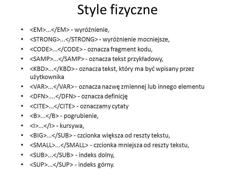 Style fizyczne... - wyróżnienie,... - wyróżnienie mocniejsze,... - oznacza fragment kodu,... - oznacza tekst przykładowy,... - oznacza tekst, który ma