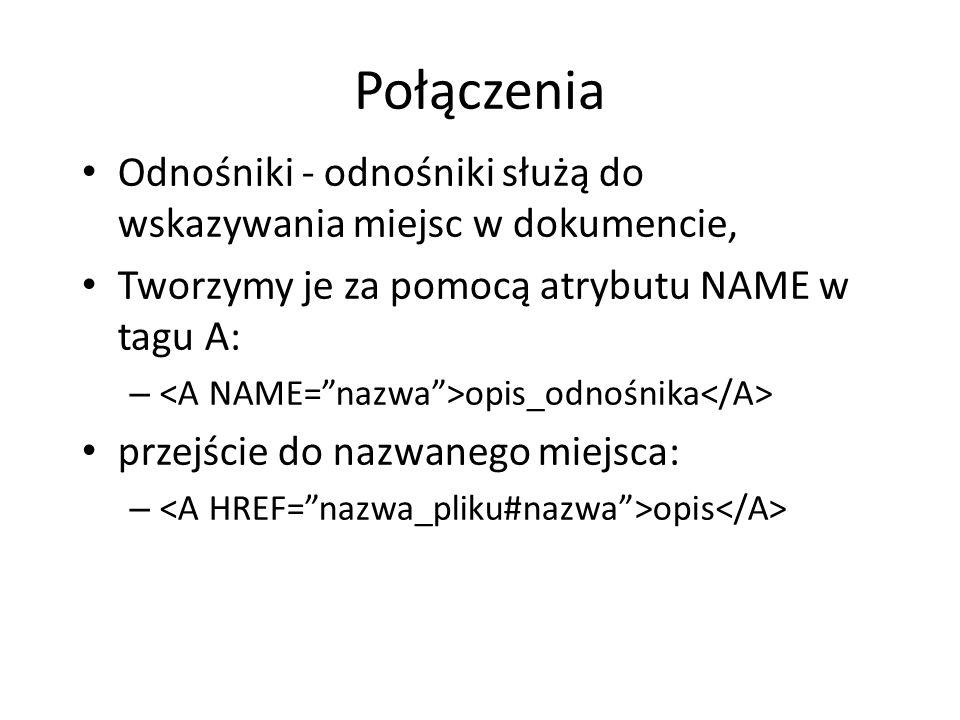 Połączenia Odnośniki - odnośniki służą do wskazywania miejsc w dokumencie, Tworzymy je za pomocą atrybutu NAME w tagu A: – opis_odnośnika przejście do