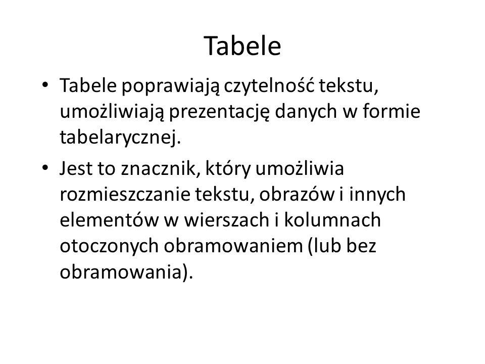 Tabele Tabele poprawiają czytelność tekstu, umożliwiają prezentację danych w formie tabelarycznej. Jest to znacznik, który umożliwia rozmieszczanie te
