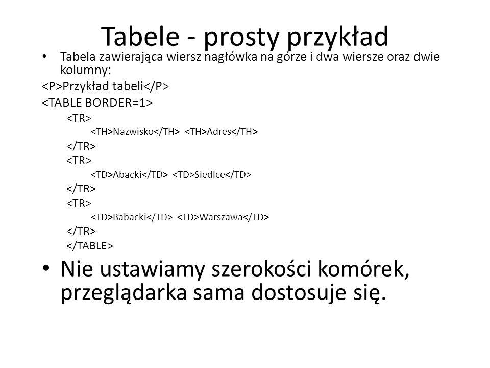 Tabele - prosty przykład Tabela zawierająca wiersz nagłówka na górze i dwa wiersze oraz dwie kolumny: Przykład tabeli Nazwisko Adres Abacki Siedlce Ba
