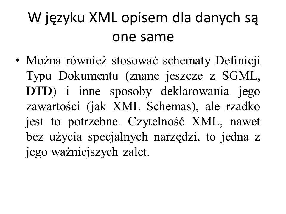 W języku XML opisem dla danych są one same Można również stosować schematy Definicji Typu Dokumentu (znane jeszcze z SGML, DTD) i inne sposoby deklaro