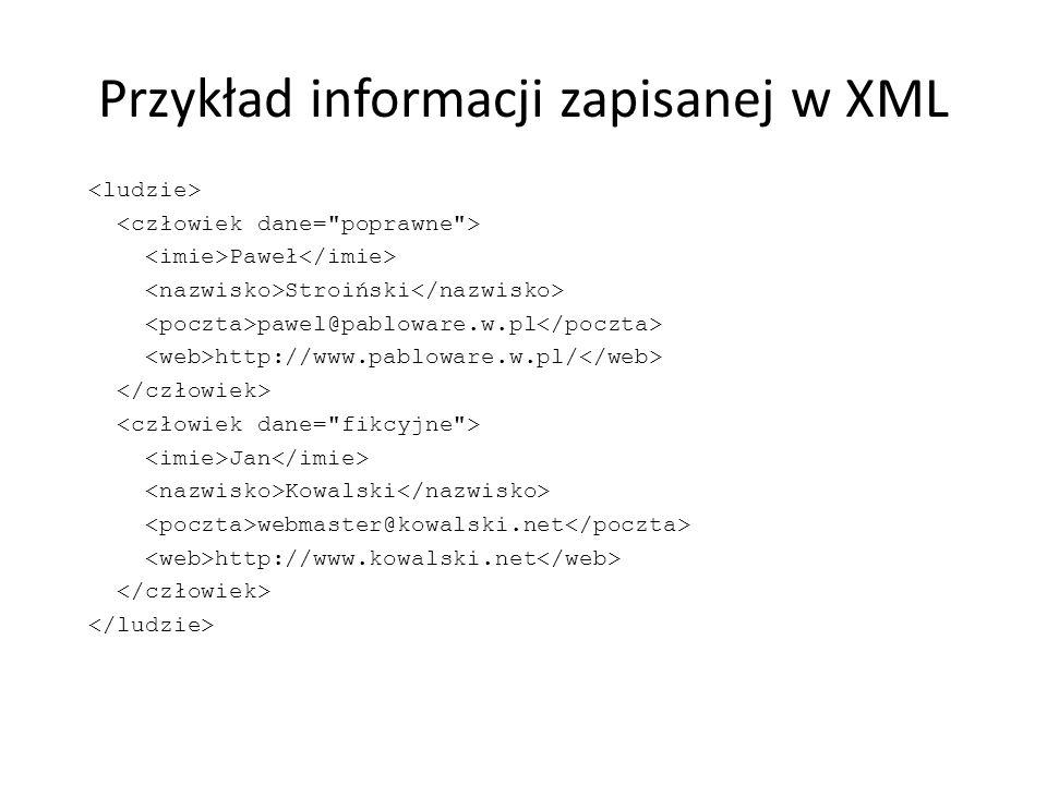 Przykład informacji zapisanej w XML Paweł Stroiński pawel@pabloware.w.pl http://www.pabloware.w.pl/ Jan Kowalski webmaster@kowalski.net http://www.kow