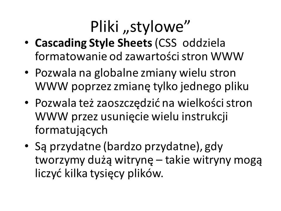 """Pliki """"stylowe"""" Cascading Style Sheets (CSS oddziela formatowanie od zawartości stron WWW Pozwala na globalne zmiany wielu stron WWW poprzez zmianę ty"""