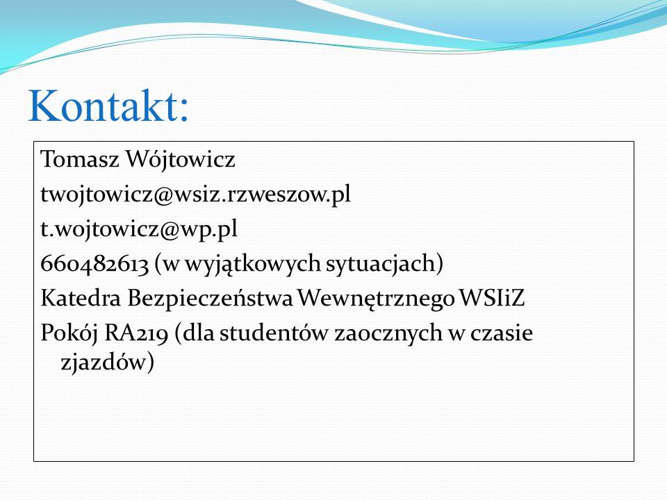 Kontakt: Tomasz Wójtowicz twojtowicz@wsiz.rzweszow.pl t.wojtowicz@wp.pl 660482613 (w wyjątkowych sytuacjach) Katedra Bezpieczeństwa Wewnętrznego WSIiZ