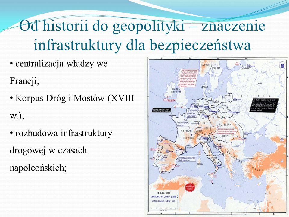 Od historii do geopolityki – znaczenie infrastruktury dla bezpieczeństwa centralizacja władzy we Francji; Korpus Dróg i Mostów (XVIII w.); rozbudowa i