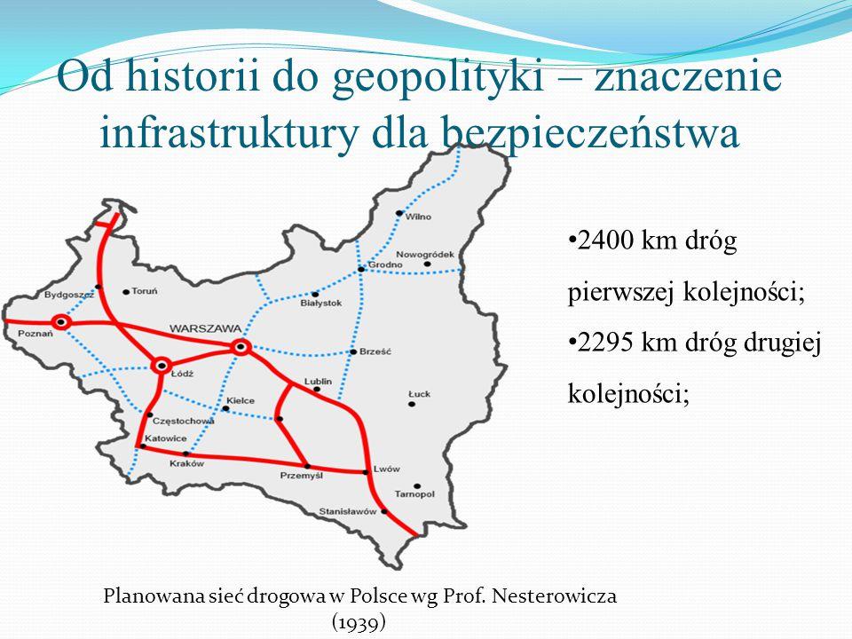 2400 km dróg pierwszej kolejności; 2295 km dróg drugiej kolejności; Planowana sieć drogowa w Polsce wg Prof. Nesterowicza (1939)