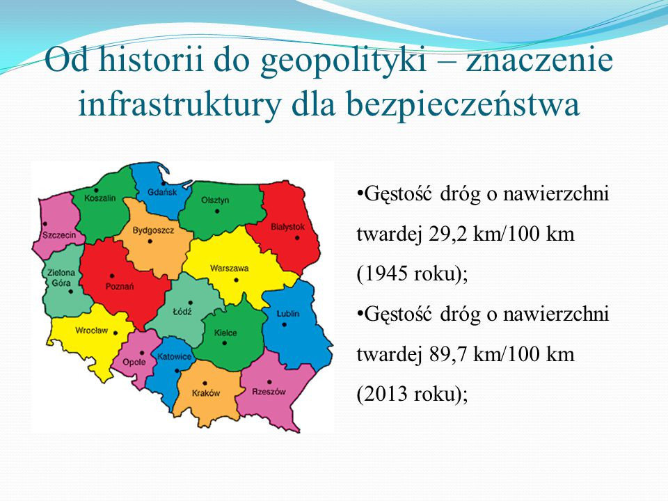 Od historii do geopolityki – znaczenie infrastruktury dla bezpieczeństwa Gęstość dróg o nawierzchni twardej 29,2 km/100 km (1945 roku); Gęstość dróg o