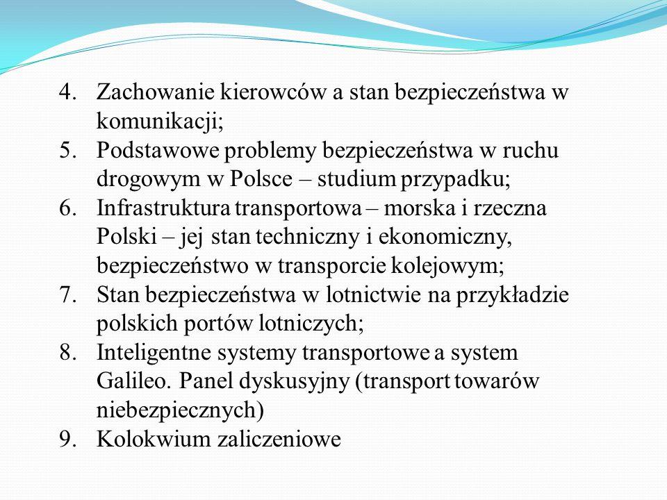 4.Zachowanie kierowców a stan bezpieczeństwa w komunikacji; 5.Podstawowe problemy bezpieczeństwa w ruchu drogowym w Polsce – studium przypadku; 6.Infr