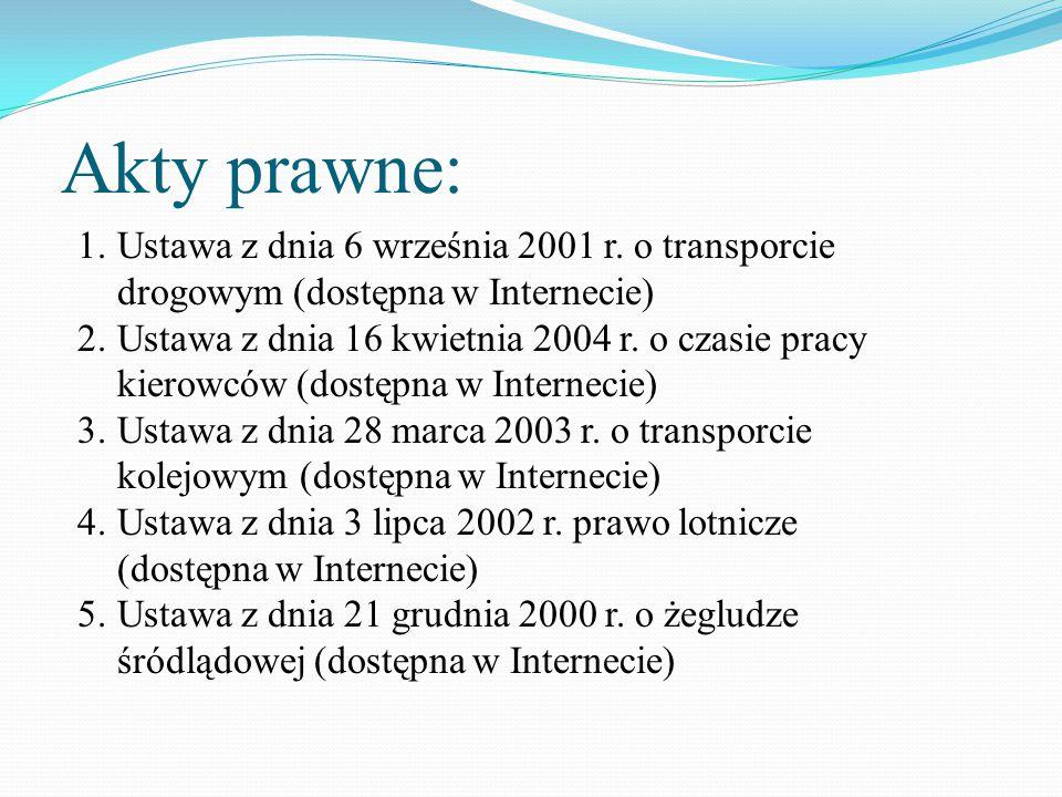 Akty prawne: 1.Ustawa z dnia 6 września 2001 r. o transporcie drogowym (dostępna w Internecie) 2.Ustawa z dnia 16 kwietnia 2004 r. o czasie pracy kier
