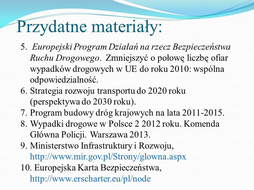 Przydatne materiały: 5. Europejski Program Działań na rzecz Bezpieczeństwa Ruchu Drogowego. Zmniejszyć o połowę liczbę ofiar wypadków drogowych w UE d