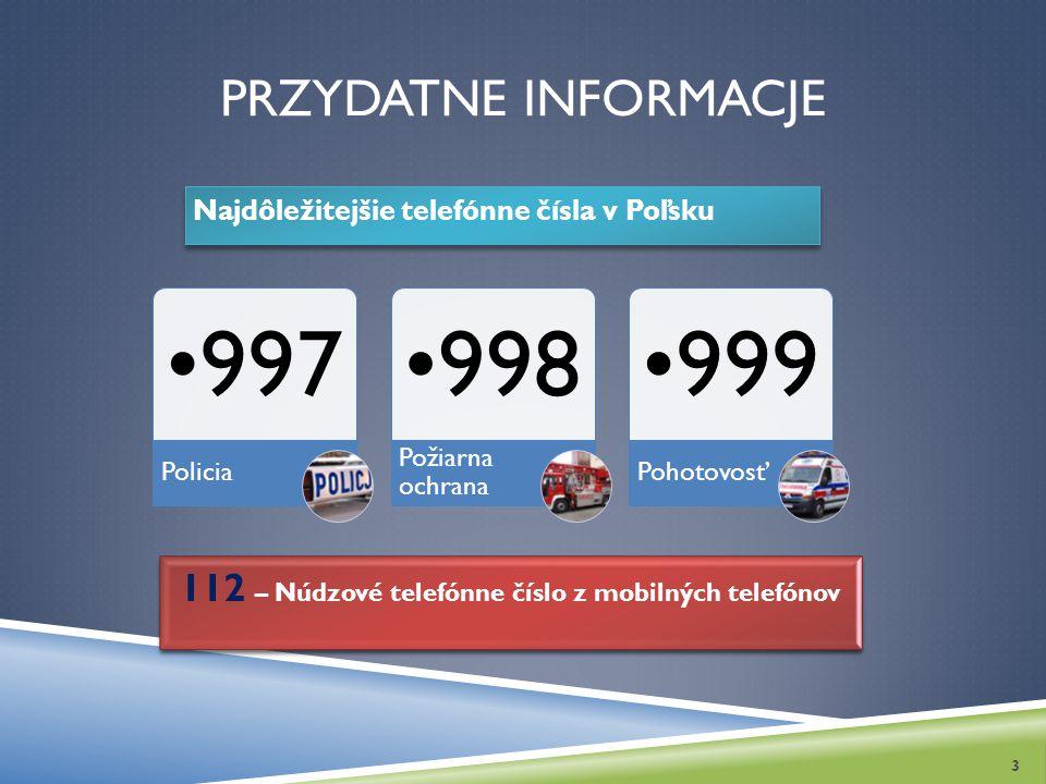 PRZYDATNE INFORMACJE Najdôležitejšie telefónne čísla v Poľsku 3 997 Policia 998 Požiarna ochrana 999 Pohotovosť 112 – Núdzové telefónne číslo z mobiln