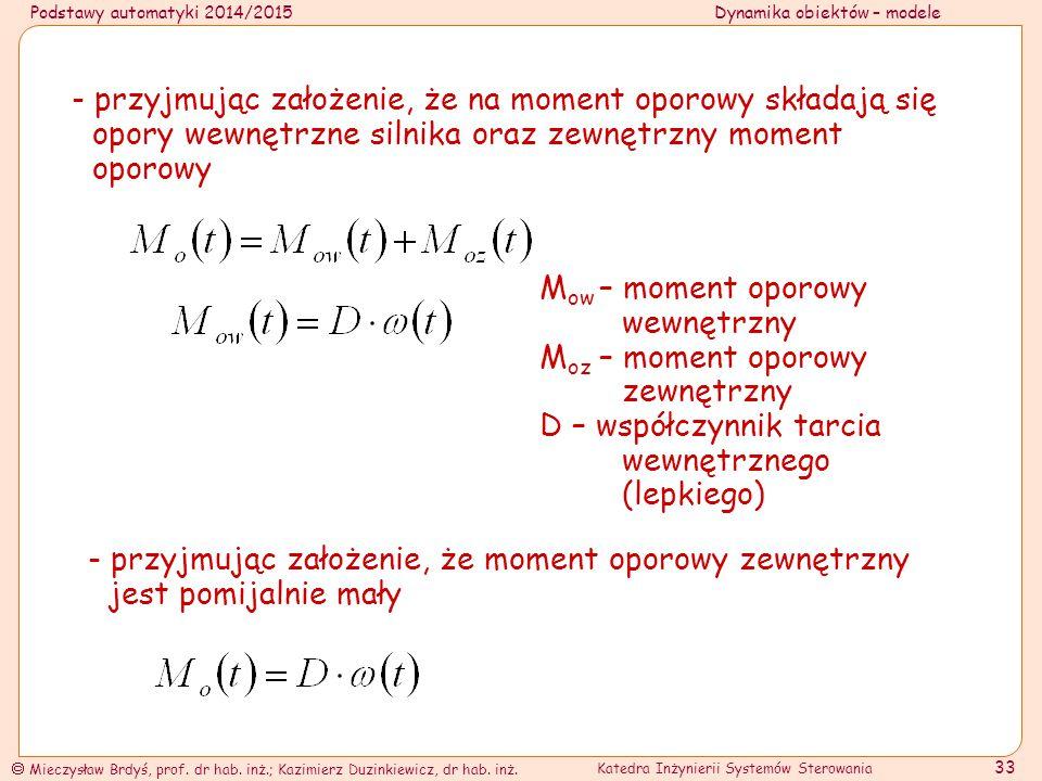 Podstawy automatyki 2014/2015Dynamika obiektów – modele  Mieczysław Brdyś, prof. dr hab. inż.; Kazimierz Duzinkiewicz, dr hab. inż. Katedra Inżynieri
