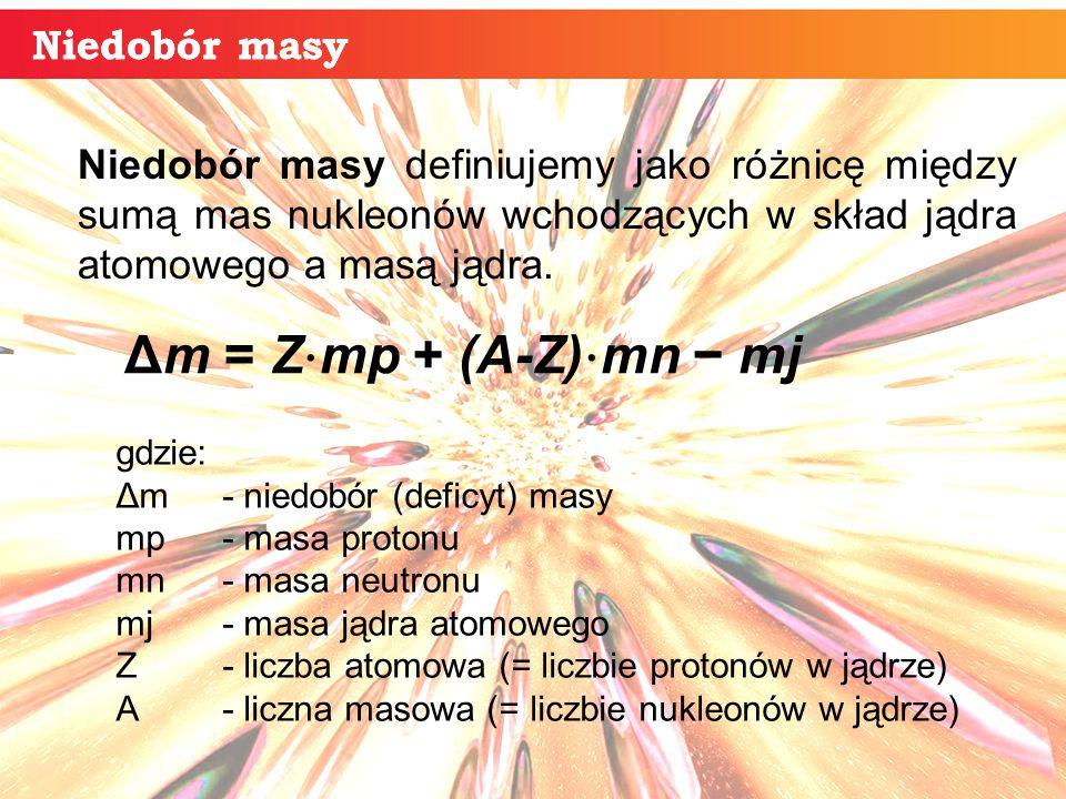Niedobór masy Niedobór masy definiujemy jako różnicę między sumą mas nukleonów wchodzących w skład jądra atomowego a masą jądra.