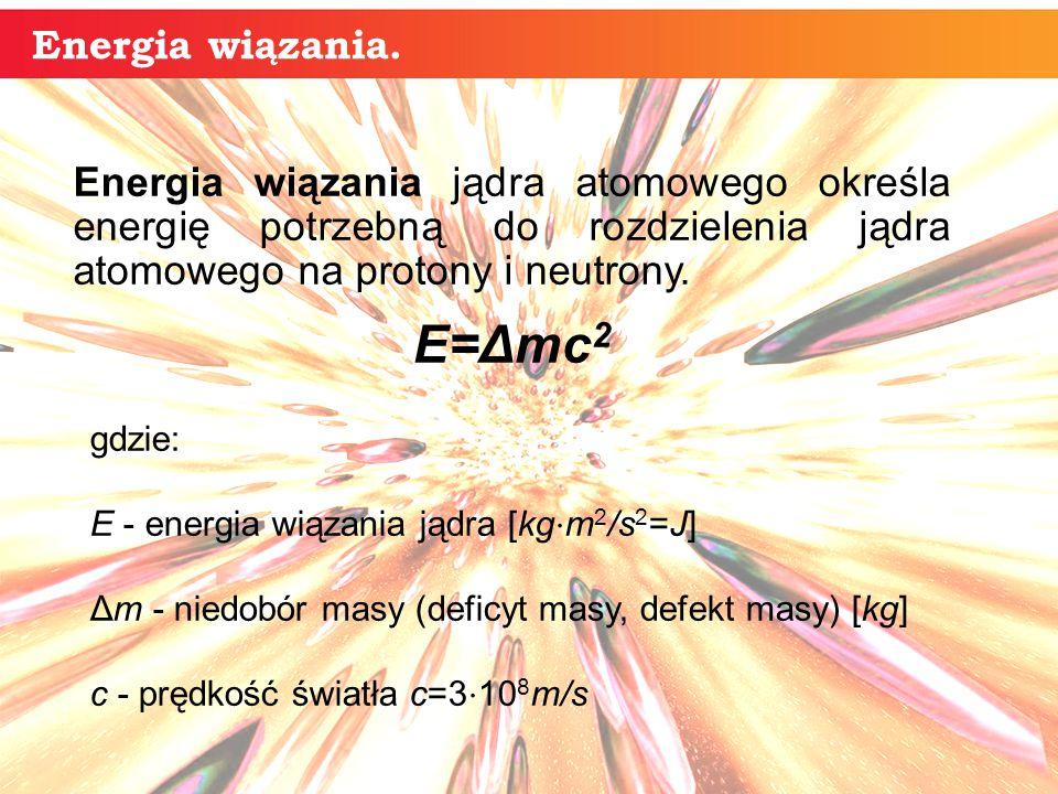 Energia wiązania jądra atomowego określa energię potrzebną do rozdzielenia jądra atomowego na protony i neutrony.